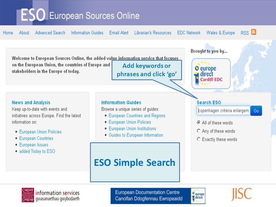 Add keywords or phrases and click go ESO Simple Search