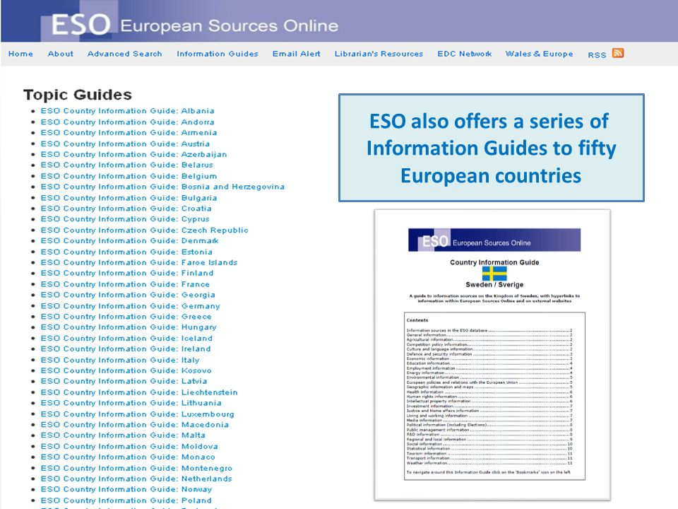ESO also offers a series of Information Guides to fifty European countries