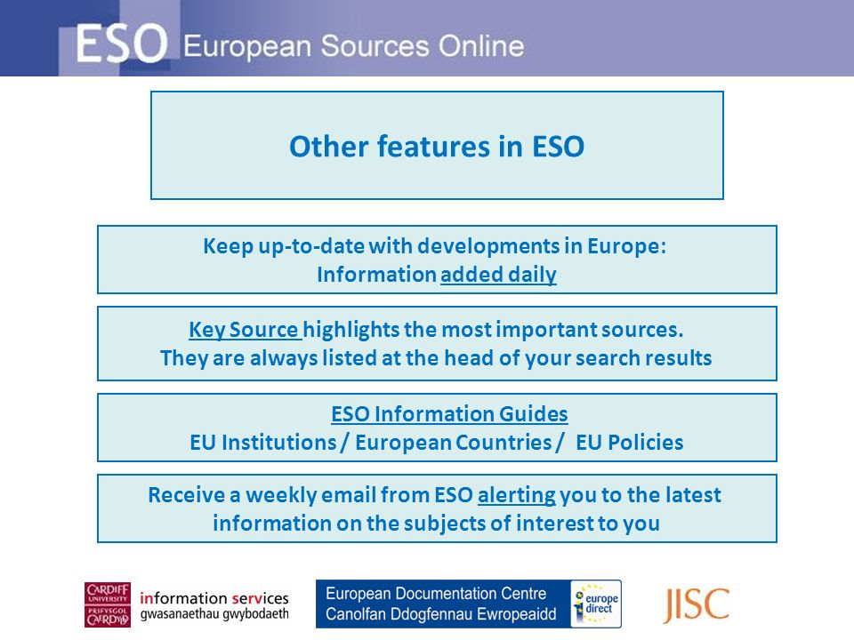 Remote access ESO is available via remote access methods Multiple user access An ESO subscription entitles you to multiple user access on the network of the subscribing organisation Usage statistics Statistics of ESO use at your organisation can be obtained.