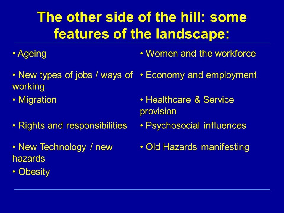 The other side of the hill: some features of the landscape: Ageing Women and the workforce New types of jobs / ways of working Economy and employment Migration Healthcare & Service provision Rights and responsibilities Psychosocial influences New Technology / new hazards Old Hazards manifesting Obesity