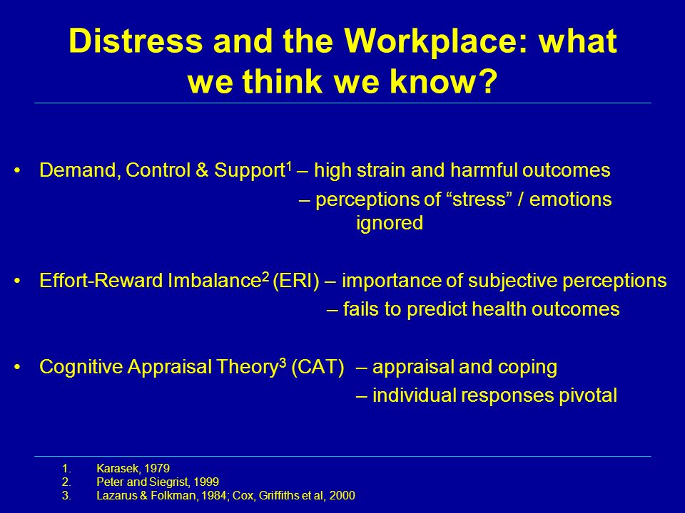 Distress and the Workplace: what we think we know? Demand, Control & Support 1 – high strain and harmful outcomes – perceptions of stress / emotions i