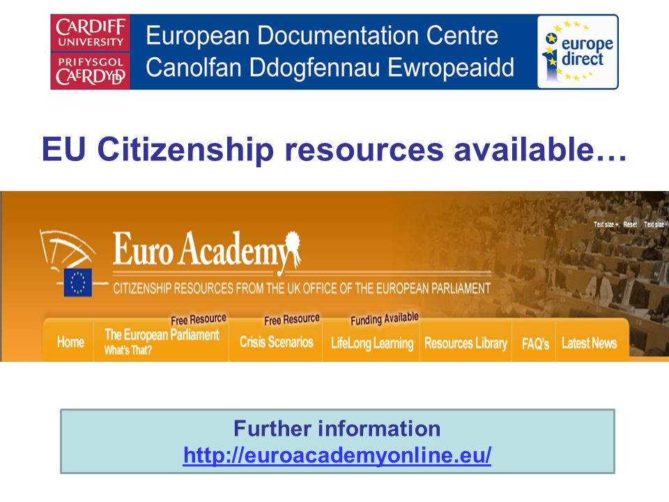 EU Citizenship resources available… Further information http://euroacademyonline.eu/