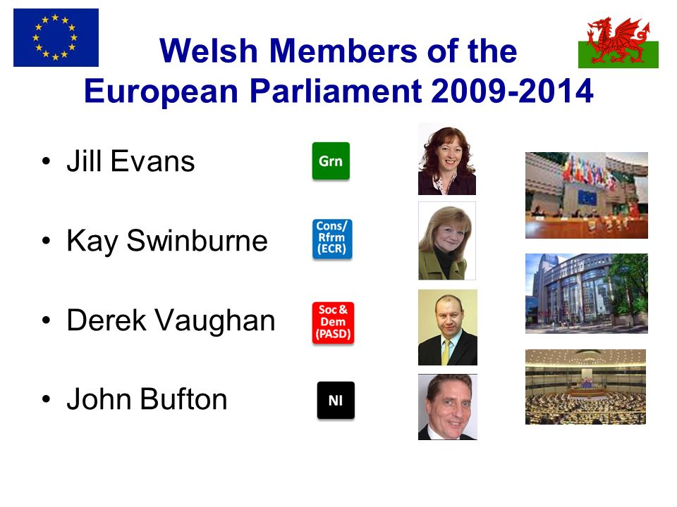Welsh Members of the European Parliament 2009-2014 Jill Evans Kay Swinburne Derek Vaughan John Bufton