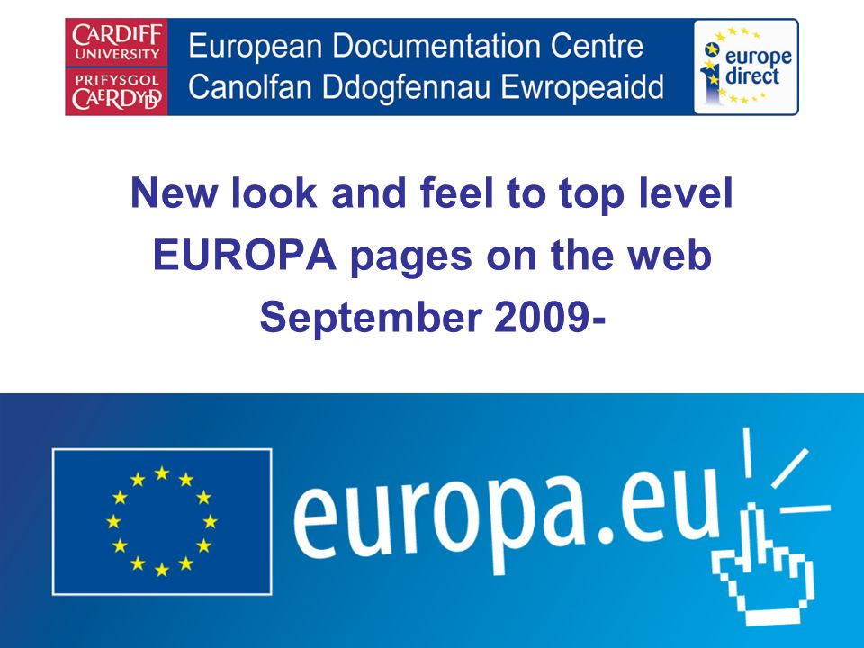 New look and feel to top level EUROPA pages on the web September 2009-