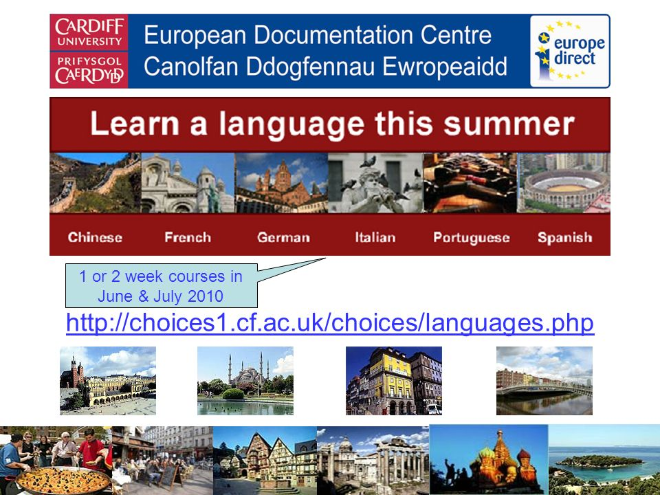 http://choices1.cf.ac.uk/choices/languages.php 1 or 2 week courses in June & July 2010