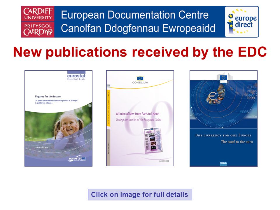 New publications received by the EDC Click on image for full details