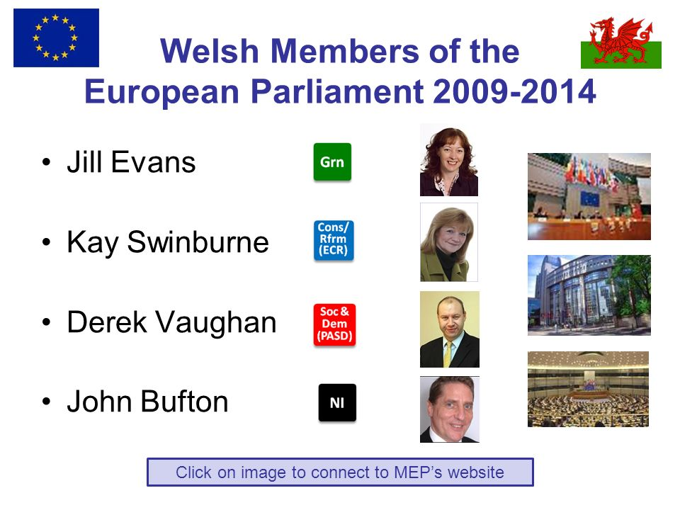 Welsh Members of the European Parliament 2009-2014 Jill Evans Kay Swinburne Derek Vaughan John Bufton Click on image to connect to MEPs website