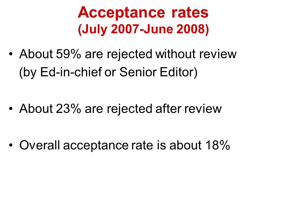 About 59% are rejected without review (by Ed-in-chief or Senior Editor) About 23% are rejected after review Overall acceptance rate is about 18% Acceptance rates (July 2007-June 2008)