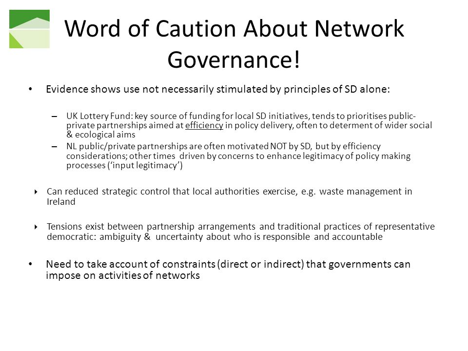 Word of Caution About Network Governance.
