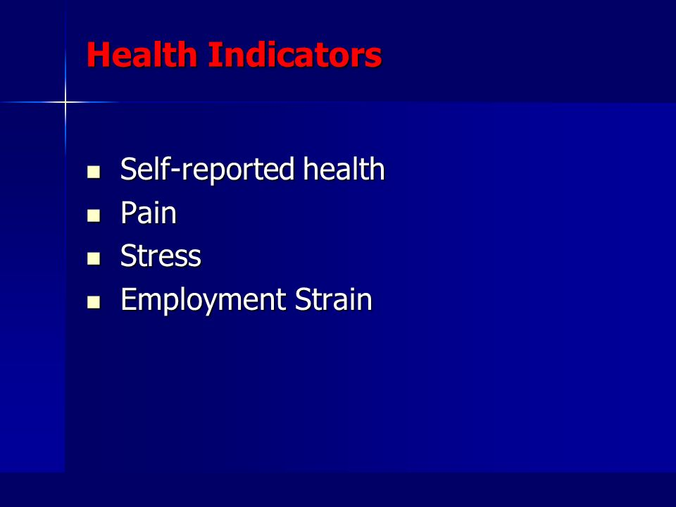 Health Indicators Self-reported health Self-reported health Pain Pain Stress Stress Employment Strain Employment Strain