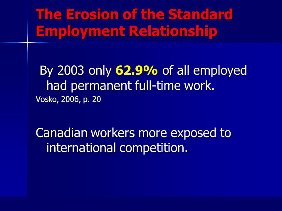 The Erosion of the Standard Employment Relationship By 2003 only 62.9% of all employed had permanent full-time work.