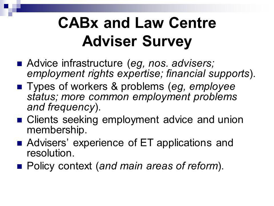 CABx and Law Centre Adviser Survey Advice infrastructure (eg, nos.