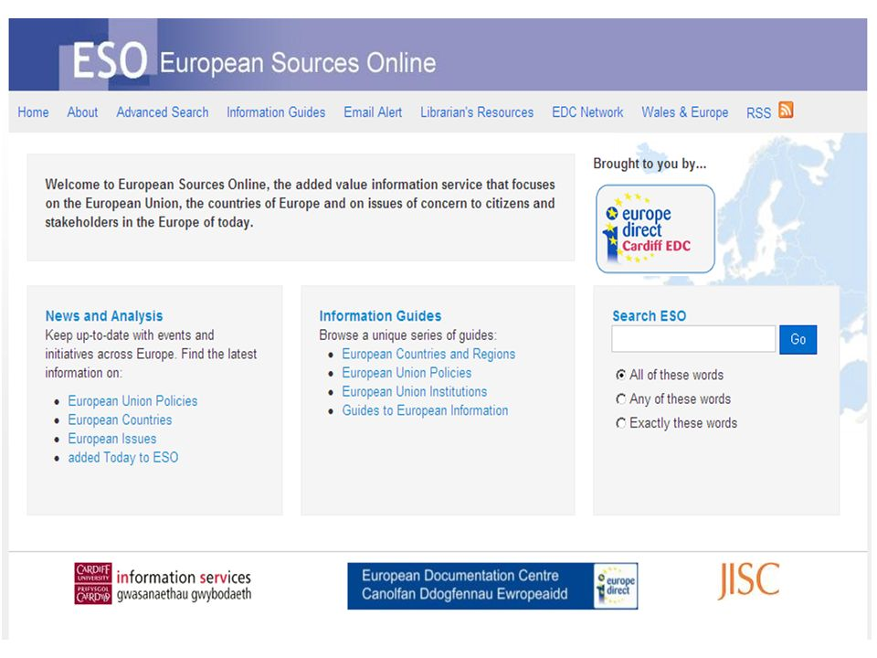 April 2008 – March 2013 is now freely available to libraries, schools and public bodies in Wales Please ask for details http://www.europeansources.info