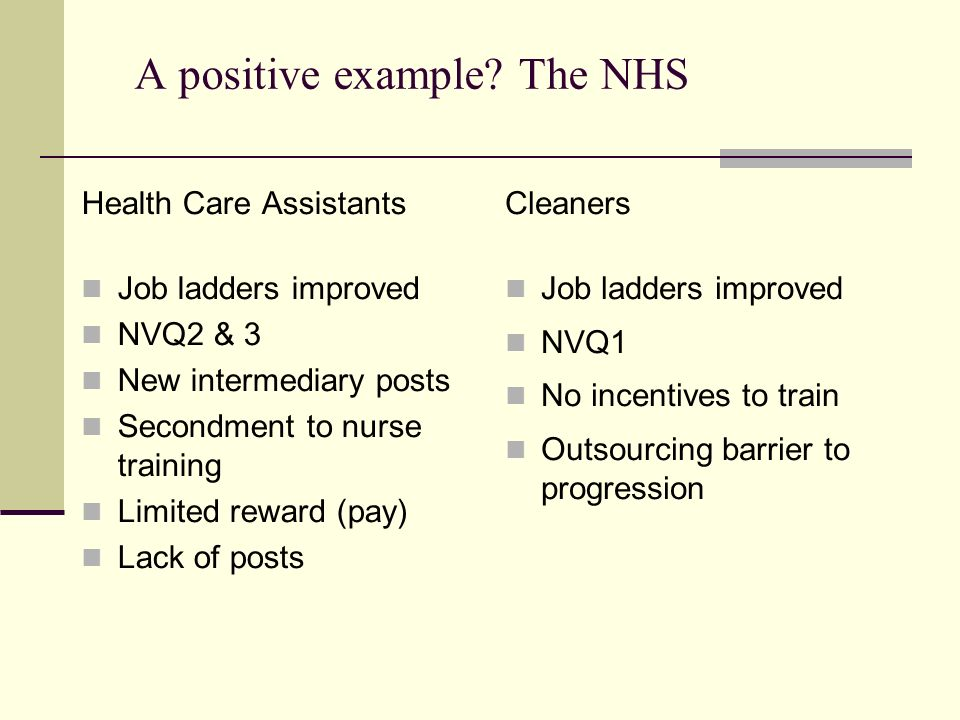 A positive example? The NHS Health Care Assistants Job ladders improved NVQ2 & 3 New intermediary posts Secondment to nurse training Limited reward (p