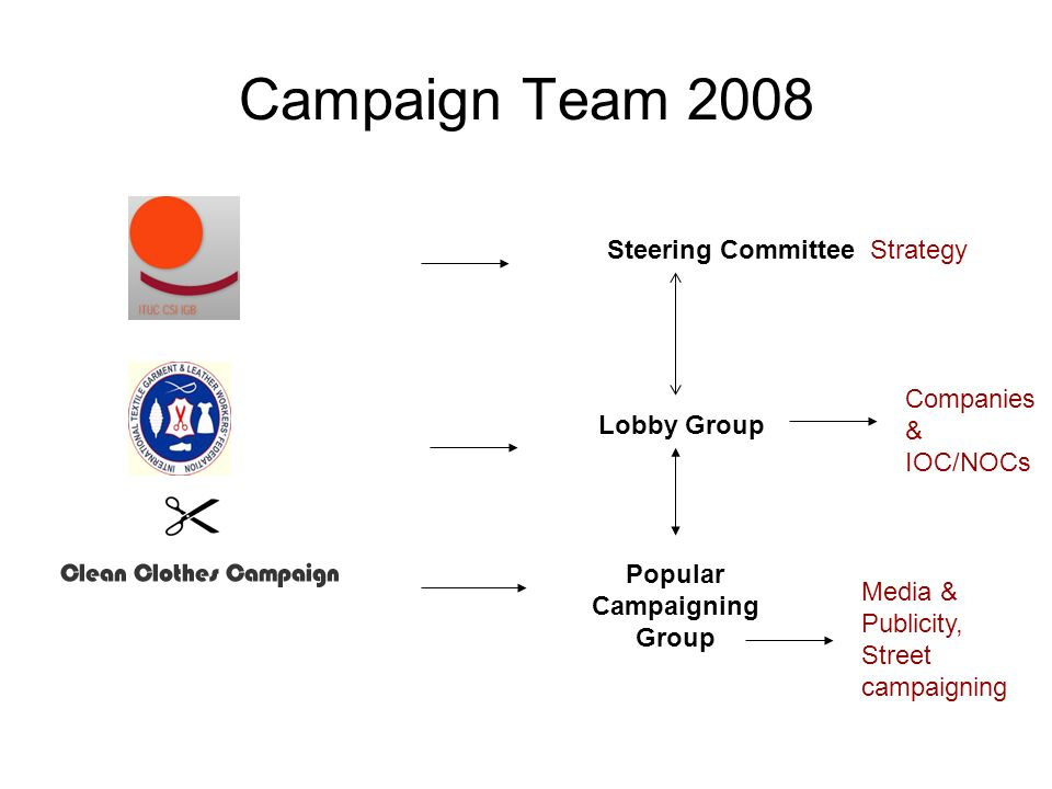 Campaign Team 2008 Steering Committee Lobby Group Popular Campaigning Group Media & Publicity, Street campaigning Companies & IOC/NOCs Strategy