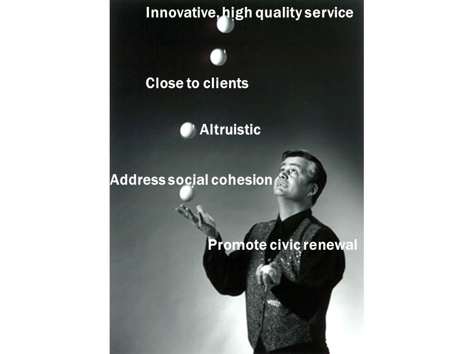 Innovative, high quality service Close to clients Altruistic Address social cohesion Promote civic renewal