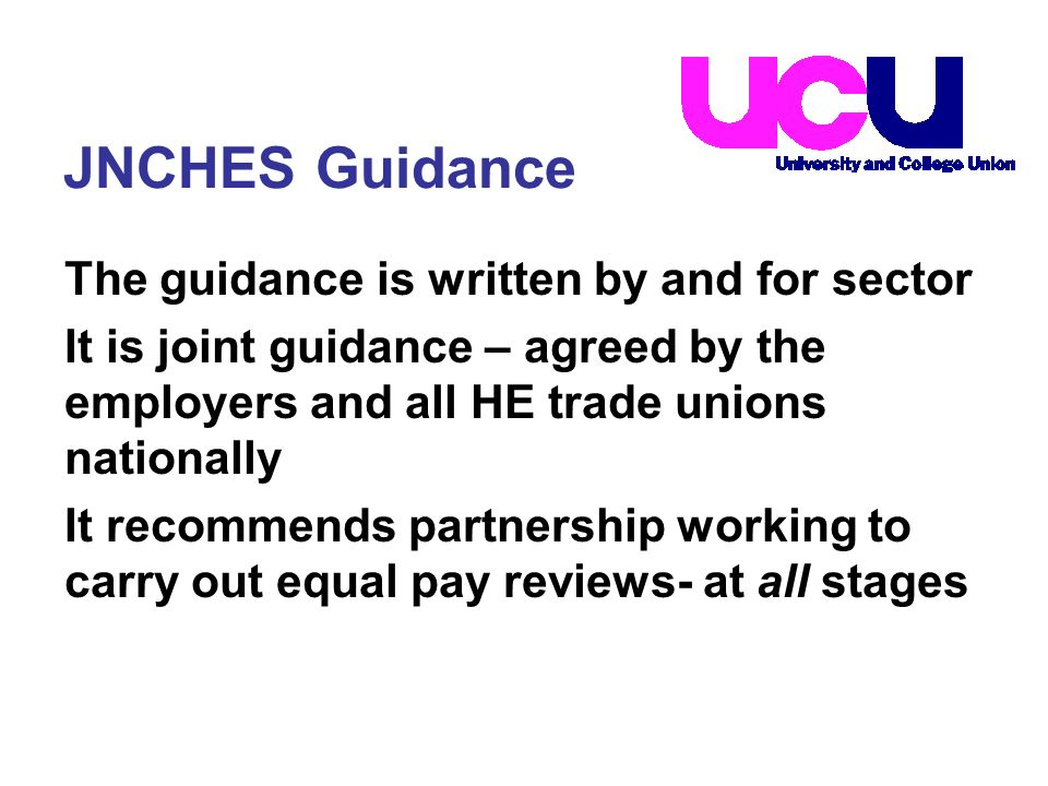 The guidance is written by and for sector It is joint guidance – agreed by the employers and all HE trade unions nationally It recommends partnership working to carry out equal pay reviews- at all stages JNCHES Guidance