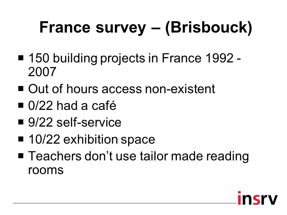 France survey – (Brisbouck) 150 building projects in France 1992 - 2007 Out of hours access non-existent 0/22 had a café 9/22 self-service 10/22 exhibition space Teachers dont use tailor made reading rooms