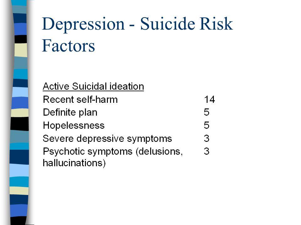 Depression - Suicide Risk Factors