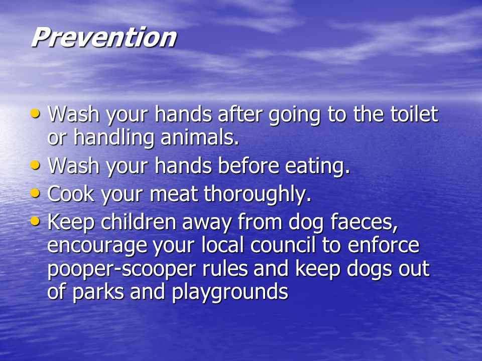 Prevention Wash your hands after going to the toilet or handling animals. Wash your hands after going to the toilet or handling animals. Wash your han