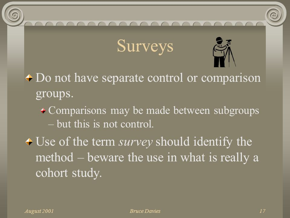 August 2001Bruce Davies17 Surveys Do not have separate control or comparison groups.