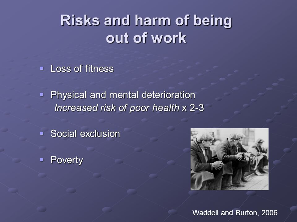 Risks and harm of being out of work Loss of fitness Loss of fitness Physical and mental deterioration Physical and mental deterioration Increased risk