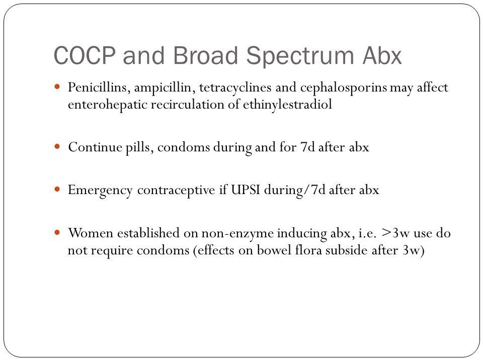 COCP and Broad Spectrum Abx Penicillins, ampicillin, tetracyclines and cephalosporins may affect enterohepatic recirculation of ethinylestradiol Conti