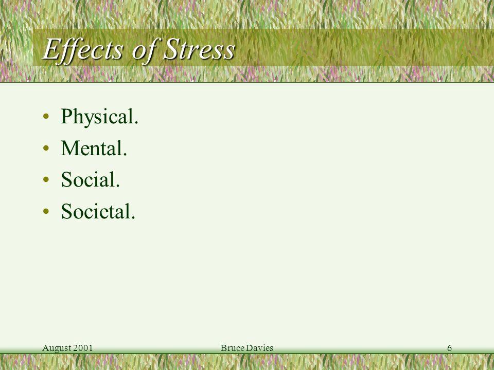 August 2001Bruce Davies5 Stress: problem or motivator
