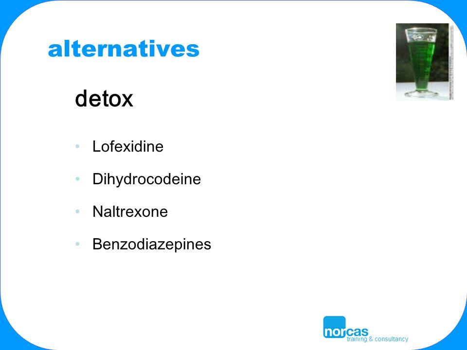 alternatives detox Lofexidine Dihydrocodeine Naltrexone Benzodiazepines