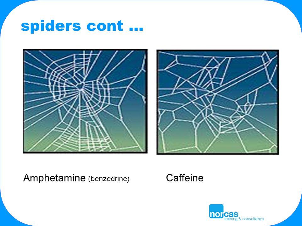 Amphetamine (benzedrine) Caffeine spiders cont …