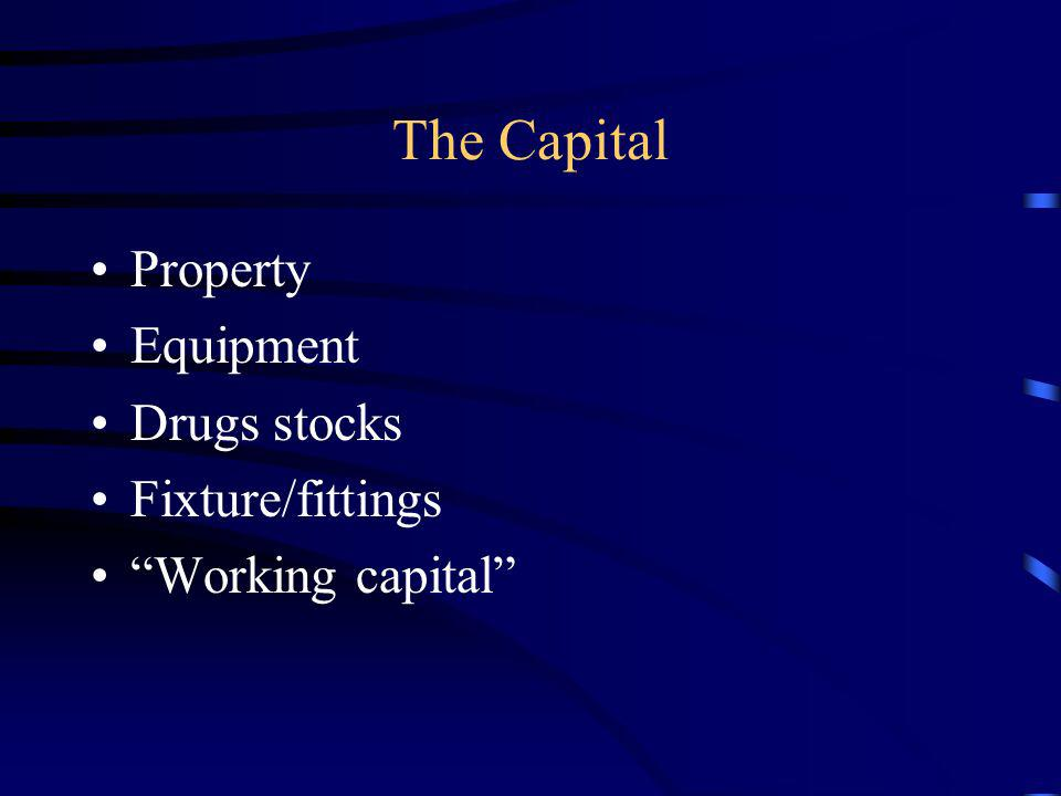 The Capital Property Equipment Drugs stocks Fixture/fittings Working capital