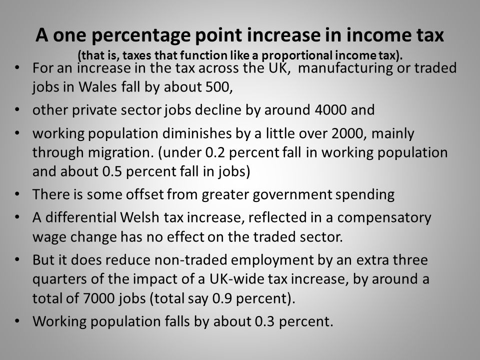 A one percentage point increase in income tax (that is, taxes that function like a proportional income tax). For an increase in the tax across the UK,