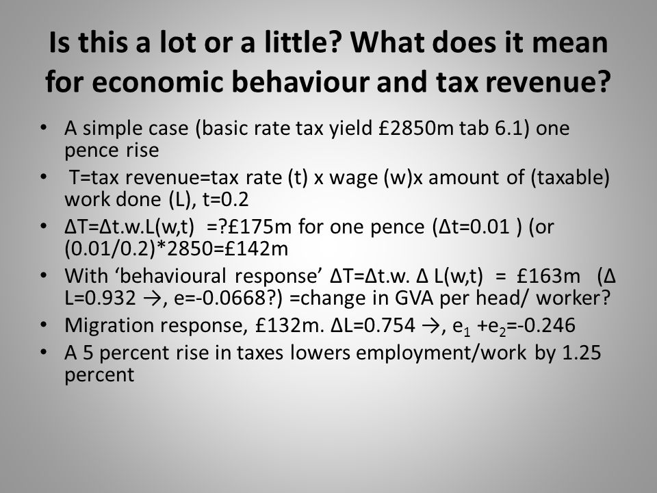 Is this a lot or a little? What does it mean for economic behaviour and tax revenue? A simple case (basic rate tax yield £2850m tab 6.1) one pence ris