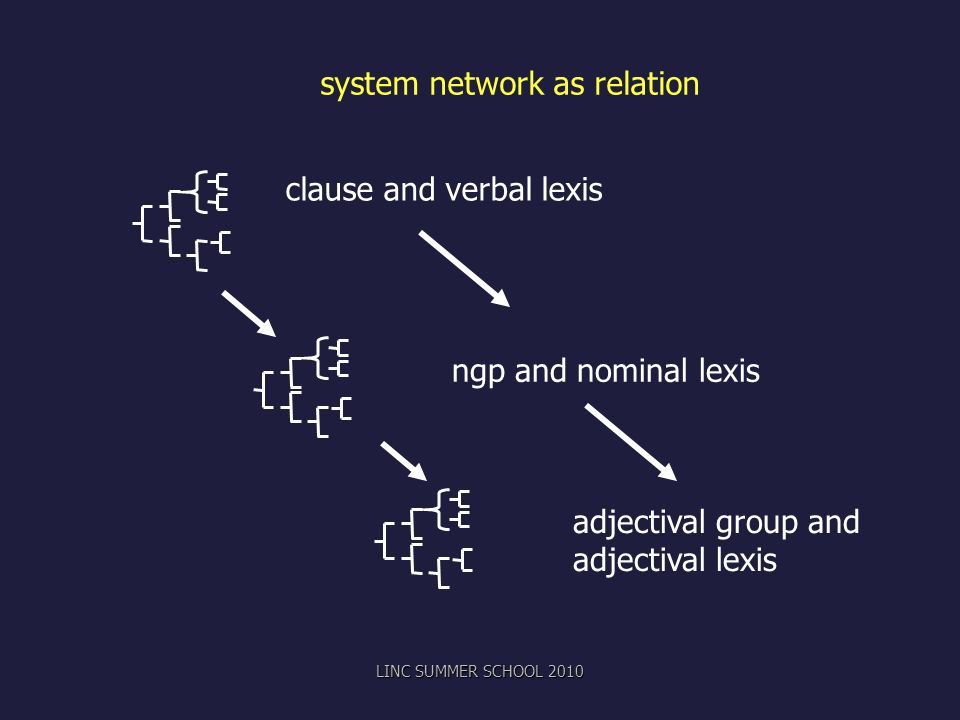 system network as relation clause and verbal lexis ngp and nominal lexis adjectival group and adjectival lexis LINC SUMMER SCHOOL 2010