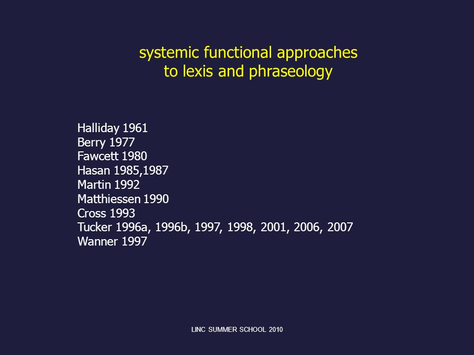 LINC SUMMER SCHOOL 2010 systemic functional approaches to lexis and phraseology Halliday 1961 Berry 1977 Fawcett 1980 Hasan 1985,1987 Martin 1992 Matt