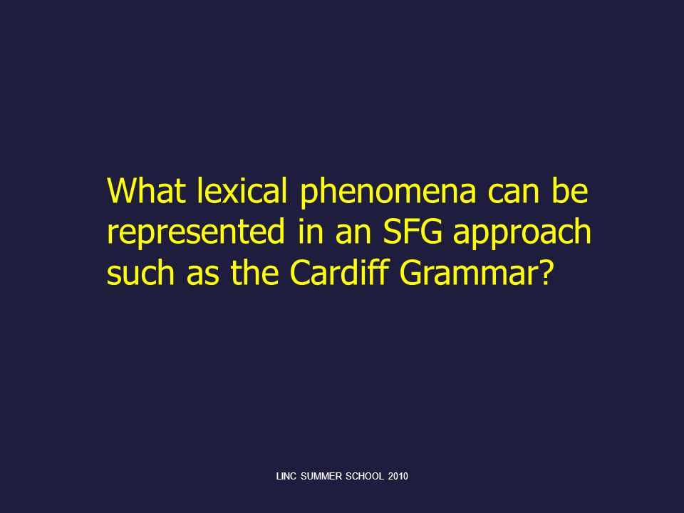 What lexical phenomena can be represented in an SFG approach such as the Cardiff Grammar?