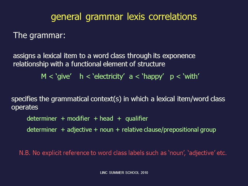 general grammar lexis correlations assigns a lexical item to a word class through its exponence relationship with a functional element of structure M