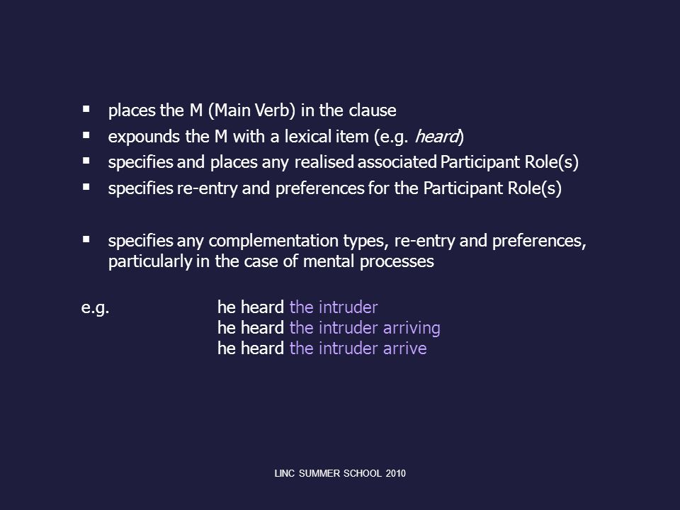 places the M (Main Verb) in the clause expounds the M with a lexical item (e.g. heard) specifies and places any realised associated Participant Role(s