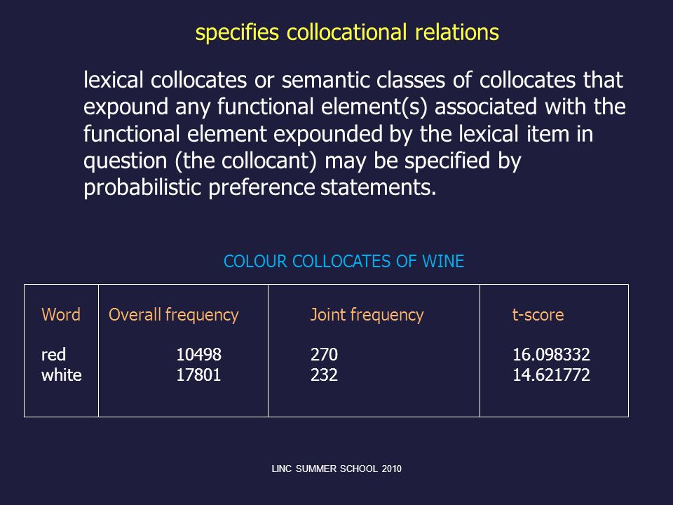 specifies collocational relations lexical collocates or semantic classes of collocates that expound any functional element(s) associated with the func