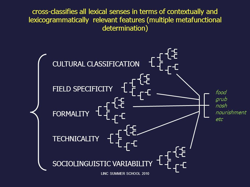 cross-classifies all lexical senses in terms of contextually and lexicogrammatically relevant features (multiple metafunctional determination) CULTURA
