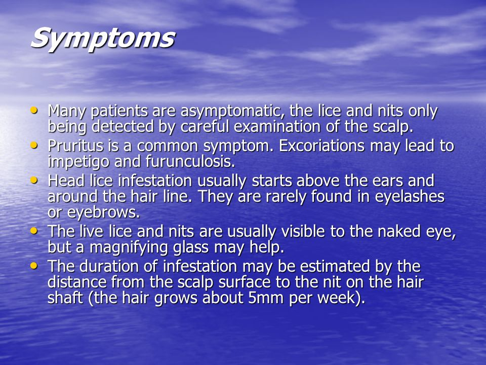 Symptoms Many patients are asymptomatic, the lice and nits only being detected by careful examination of the scalp. Many patients are asymptomatic, th