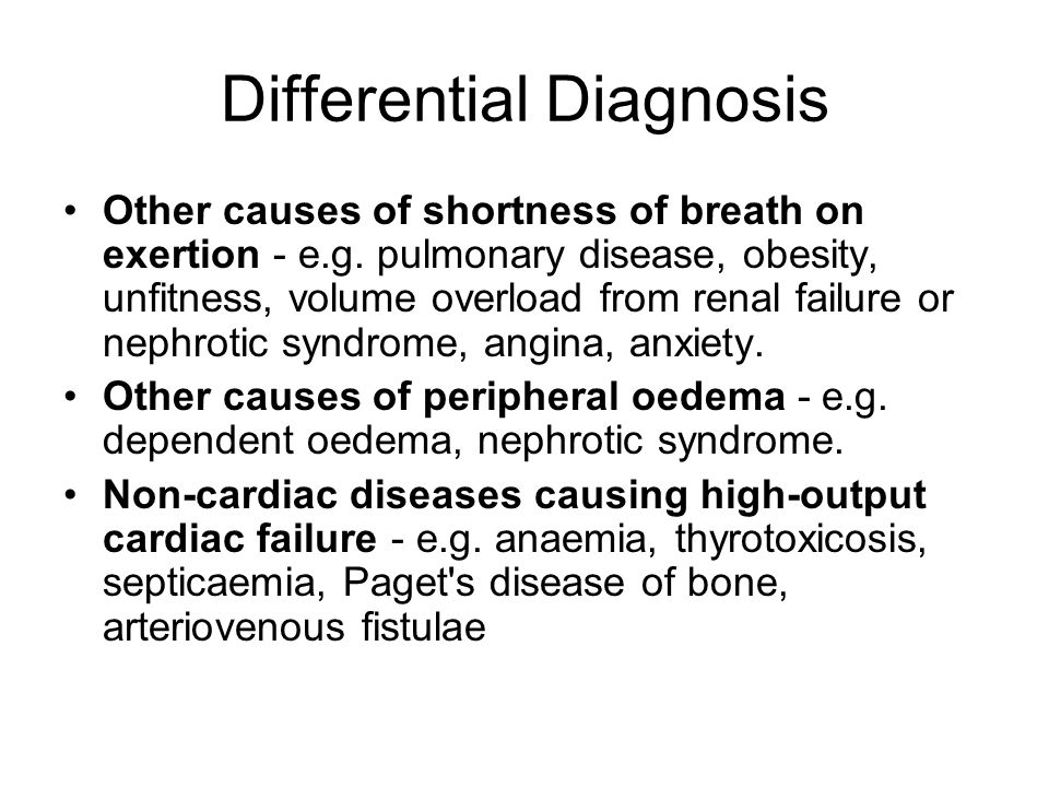 Differential Diagnosis Other causes of shortness of breath on exertion - e.g. pulmonary disease, obesity, unfitness, volume overload from renal failur
