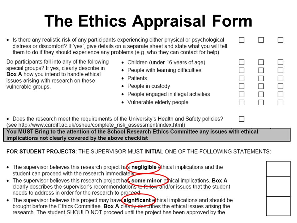 The Ethics Appraisal Form