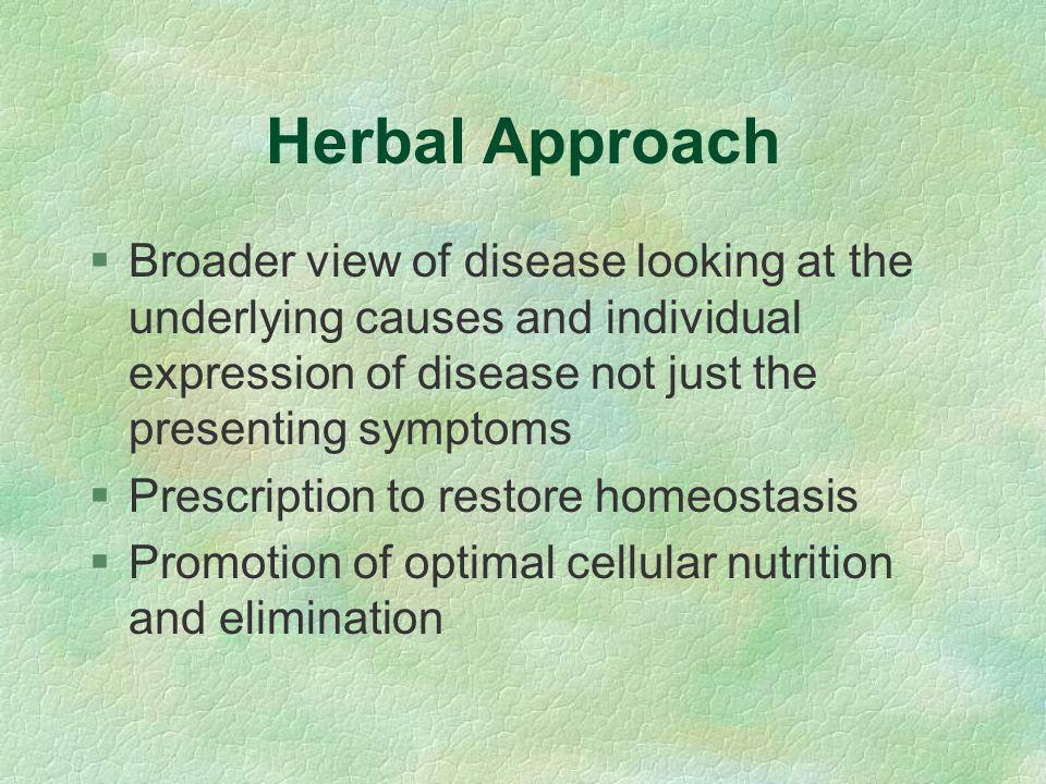 Herbal Medicine in the UK §1 in 5 regularly use CAM - Herb no 1 §European market 2001 3.2 billion Euros §Registered herbalists: ~ 650 Western, 550 Chinese, 150 Ayurvedic & 56 other §Unregistered ~ Approximately 1000 §6 BSc NIMH accredited courses §EHPA - Statutory Self Regulation