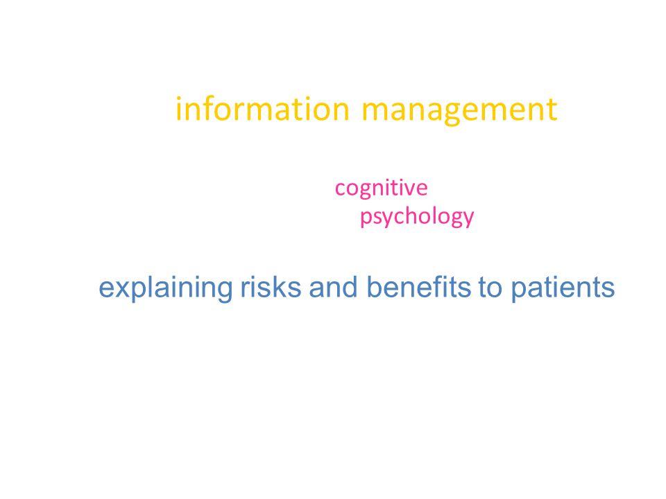 information management cognitive psychology explaining risks and benefits to patients