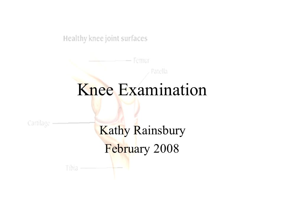 Knee Examination Kathy Rainsbury February 2008