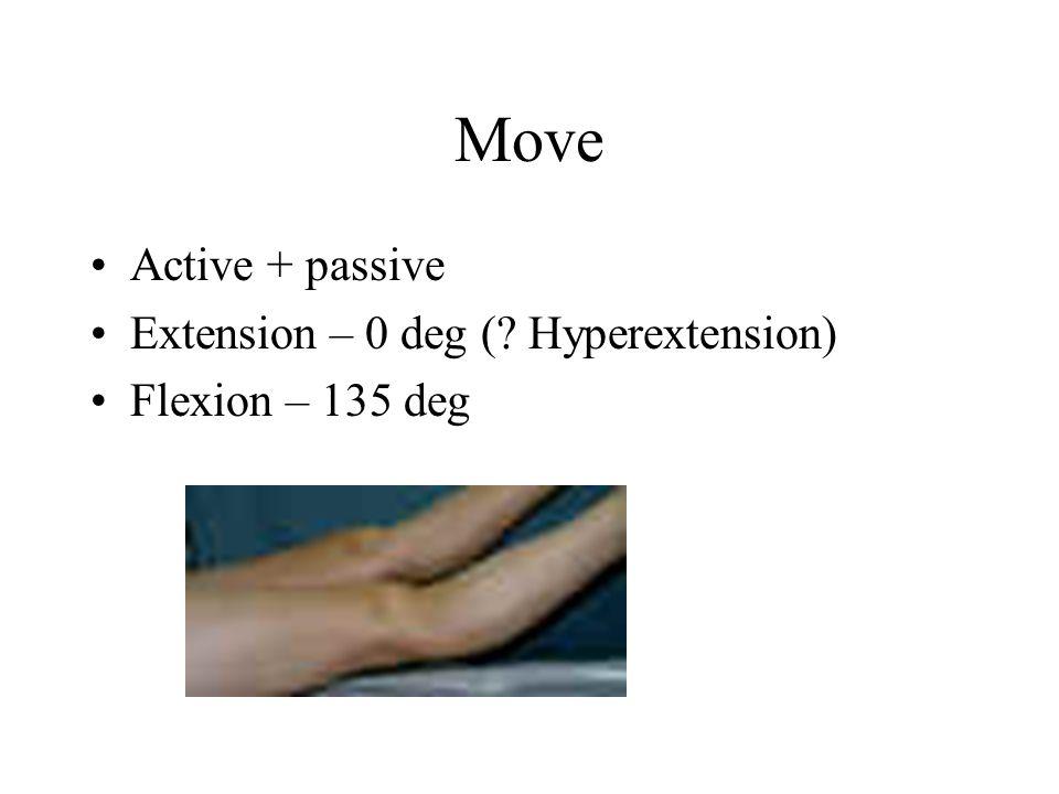 Move Active + passive Extension – 0 deg (? Hyperextension) Flexion – 135 deg