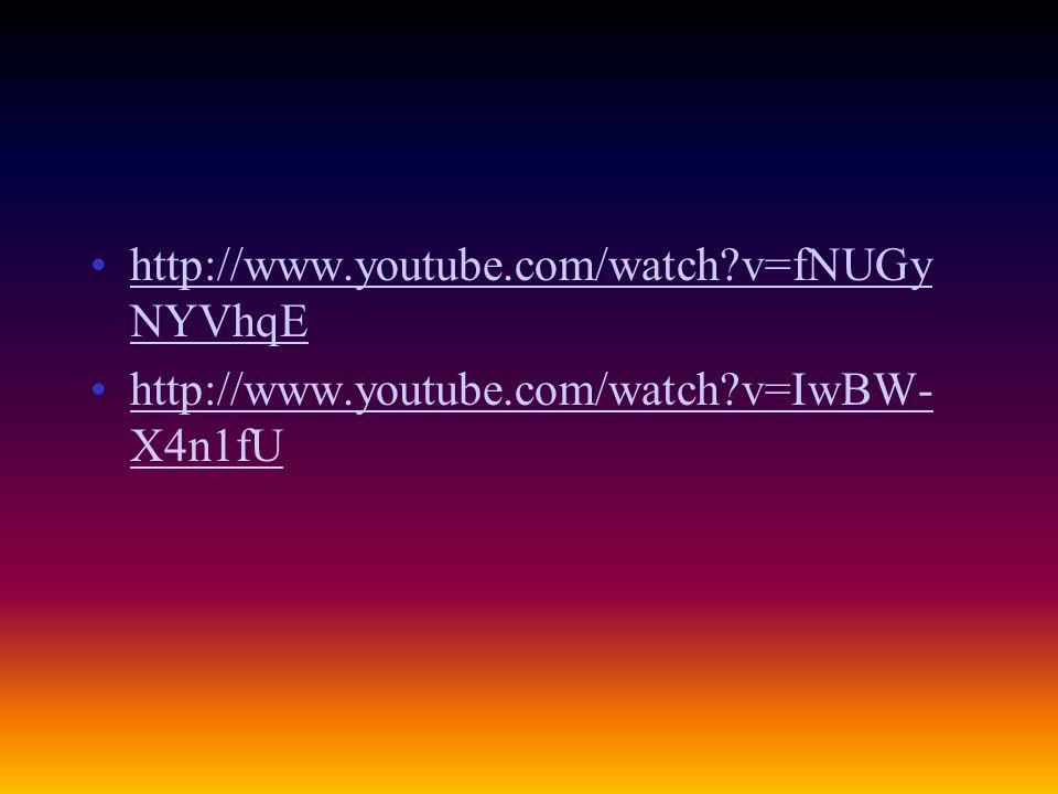 http://www.youtube.com/watch?v=fNUGy NYVhqEhttp://www.youtube.com/watch?v=fNUGy NYVhqE http://www.youtube.com/watch?v=IwBW- X4n1fUhttp://www.youtube.c