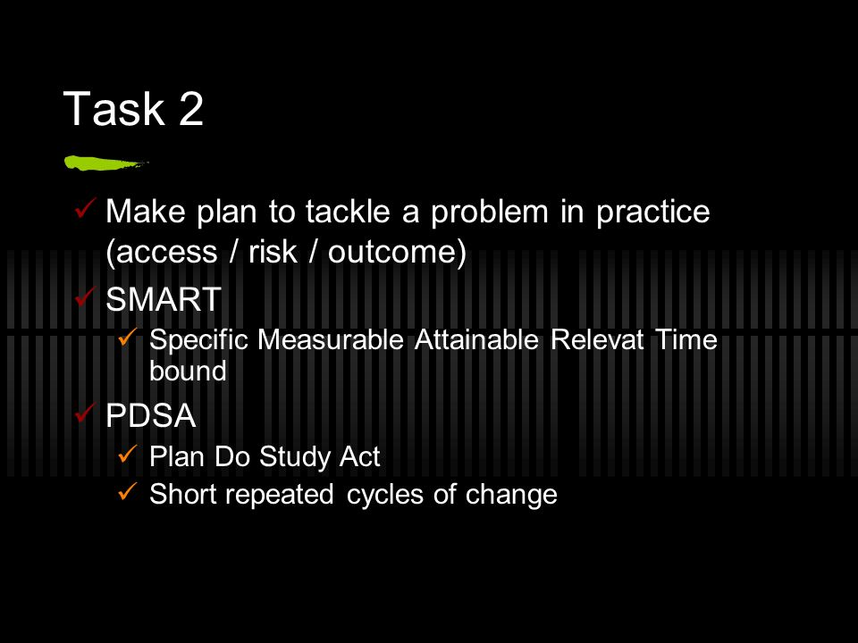 Task 2 Make plan to tackle a problem in practice (access / risk / outcome) SMART Specific Measurable Attainable Relevat Time bound PDSA Plan Do Study Act Short repeated cycles of change