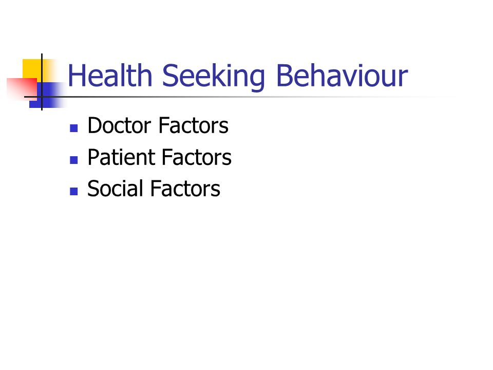 Health Seeking Behaviour Doctor Factors Patient Factors Social Factors